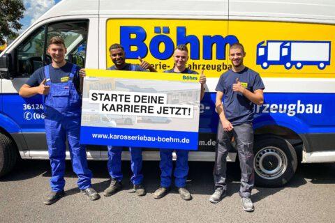 Karosserie- & Fahrzeugbau Böhm begrüßt vier neue Auszubildende
